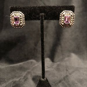 Judith Jack Amethyst Earrings with Omega Clip